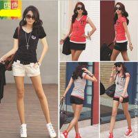 厂家直批女士热销夏装77V领小衫打底衫短袖女式韩版T恤满包邮优惠