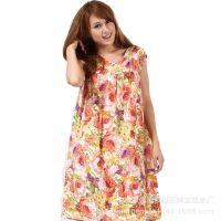供应欧小娇人造棉绵绸夏季睡裙中老年老太太睡衣加肥加大多花型