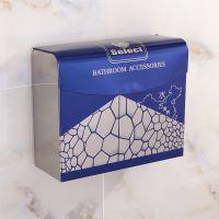 淘啦不锈钢方形加厚纸盒厕所纸巾盒酒店厕纸盒无痕安装厂家直销