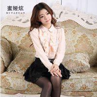 精品女装韩版秋冬季新款蕾丝衫 娃娃领订珠荷叶边长袖打底衫批发
