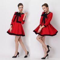 2014新款欧洲站精品女装纯红黑边迷你收腰礼服连衣裙