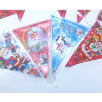 圣诞三角纸旗圣诞吊彩旗装饰圣诞节用品装饰品拉旗商场布置批发