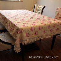 青岛印花桌布台布沙发布椅套 水溶印花精致牡丹桌布 台布【图】
