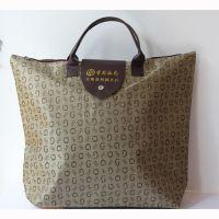 厂家直销提花购物手提袋  色丁布女包折叠购物袋