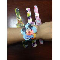 儿童电子表厂家批发定制 彩印卡通动物 LED拍拍电子表 硅胶手表