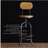 雅佳达 美式复古铁艺餐椅 餐厅椅子仿古实木家具升降酒吧铁餐椅