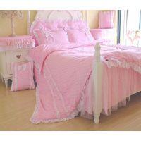 厂家直销 粉色公主系列床品套件 全棉细纹韩版床品 淘宝热卖