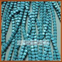 12mm斜孔片扁珠饰品配件 蓝色 天然绿松石 diy隔珠散珠批发 直销