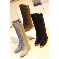欧美女靴2014新秋款伊莎长筒系带靴粗跟及膝真皮女靴子一件代发