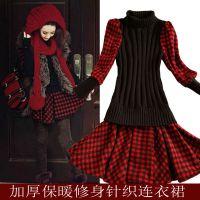 欧美女装2014秋冬新款长袖格子拼接打底连衣裙修身保暖针织毛衣裙