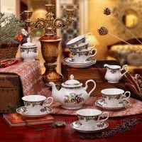 高档骨瓷咖啡具套装 陶瓷茶具欧式 复古风古典英式下午茶
