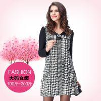 2015春新款精品大码女装欧美风女显瘦长袖连衣裙 广州大码批发