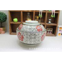 和田烧釉下彩陶瓷餐具6.5英寸盖碗 泡面碗超大容量碗