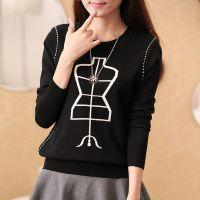 2014秋冬季新款女针织衫圆领套头提花毛衣针织打底衫