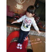 2014秋冬新品韩版女童加厚加绒打底衫儿童宝宝唐老鸭亮片长袖T恤