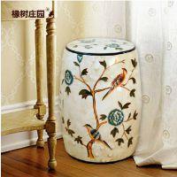 美式乡村 手绘陶瓷鼓凳 蓝花对鸟图案瓷器 古典装饰梳妆凳圆墩凳