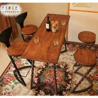 可定做星巴克桌椅美式实木餐桌复古咖啡桌餐厅桌子家用餐桌椅组合