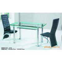 【厂家直销】休闲不锈钢管钢化玻璃餐厅桌子/休闲桌/饭桌/餐台