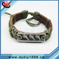 海豚手链 麻线编织手链 合金编织皮手链 动物图案