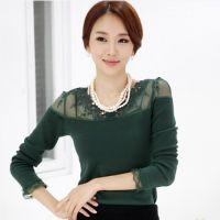新款韩版秋装修身蕾丝加绒打底衫 纯棉加绒加厚长袖T恤