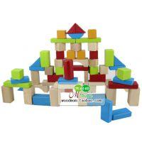 外贸原单 英国ELC积木 布袋积木 100粒实木积木 儿童木制积木