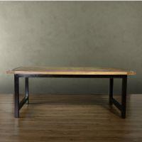 美式复古餐桌餐厅桌椅组合做旧风格老松木茶几沙发边几实木餐桌椅