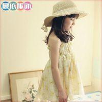 2014新款韩版童装 女童夏季碎花连衣裙 雪纺吊带儿童公主裙批发