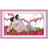 精准印花十字绣套件钟表挂钟甜蜜蜜的爱客厅卧室新款挂画厂家批发