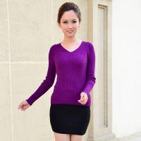 2014新款女装羊绒羊毛毛衣女式纯色v领针织衫打底衫修身毛衣女