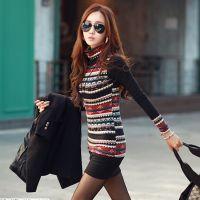2014新款高领长袖民族风女秋冬加绒打底衫韩版修身显瘦棉t