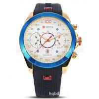 卡瑞恩8166正品手表 商务时尚韩版手表防水精钢男表 硅胶石英手表