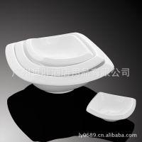 陶瓷正方顺边碗 方形碗 餐厅酒楼酒店陶瓷餐具用品直销批发