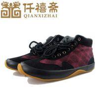 2014新款冬季男士棉鞋批发 格子休闲高帮防滑棉鞋男式保暖棉鞋
