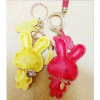 新品~PU皮鸵鸟纹 钻小兔子钥匙扣 小兔头子母包包挂饰 12色