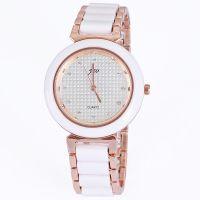 速卖通数据包新款品牌手表简约时尚点钻边框玫瑰金手链表女
