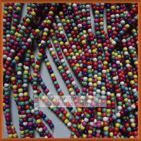 6mm纯天然绿松石散珠 厂家批发 diy配件圆珠子 红松石 彩色松石