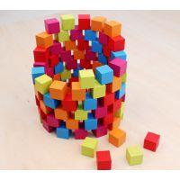 批发儿童布袋100粒木质积木玩具 儿童益智玩具 开发智力 儿童玩具