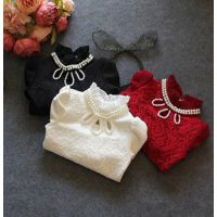 冬季女童装中小童潮范珍珠领加绒加厚打底衫韩版儿童宝宝纯色T恤B