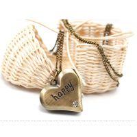 HAPPY爱心挂链表复古挂表毛衣挂件项链爱心表 H爱心手表批发
