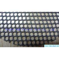 0.75mm黑色六边形孔PVC透明夹网布箱包面料