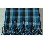 Comfortable Plaids Bamboo Throw Blanket , Blue Anti - Pilling