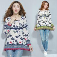 2014新款秋装女装韩版宽松森女印花T恤中长款打底衫上衣