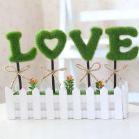 仿真花木栅栏装饰绿植盆栽LOVE组合盆景创意礼品摆饰情人节礼物