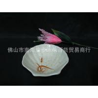 秋草餐具密胺碟贝壳碟仿瓷碟塑料碟小吃碟美耐皿