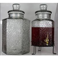 特价高档冰花六棱泡酒瓶药酒瓶 玻璃泡酒坛 20斤玻璃泡酒坛