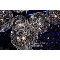 供应铭星不锈钢吊灯时尚个性创意现代客厅餐厅工程圆球多边形钻石灯