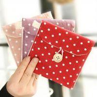棉麻韩国清新波点卫生巾收纳包 30g袋卫生棉收纳袋、收纳包其他收