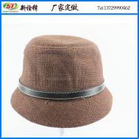 外贸帽子出口韩版女士草编平顶礼帽 皮质扣可调节盆帽 纯色马术帽