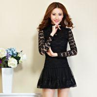 2014秋装新款韩版时尚修身长袖蕾丝镂空拼接打底衫