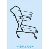 厂家直销金属喷塑双层购物车 超市购物车 喷塑购物车jhsx-0218